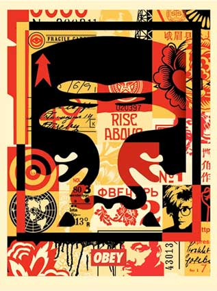 <span style='display:block;position:absolute;left:15px;top:-20px;'>Ref. 423</span>Artiste :  <br/>Titre de l'oeuvre : Obey 3 face collage<br/>Année : 2017<br/>Technique : impression offset<br/>Format : 64 x 49 cm <br/>